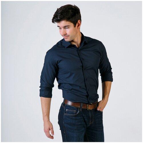рубашка муж oodji lab цвет темно синий оптический белый 3l110247m 44425n 7910d размер 40 182 48 182 Рубашка мужская WOMEN MEN темно синяя рост 182-186 размер 40
