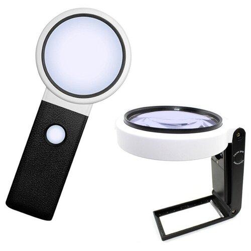 Фото - Лупа Kromatech TH-7018-C 3.5x/25x 110mm с подсветкой 8 LED 23149b285 микроскоп кроматек mg10081 8 серебристый