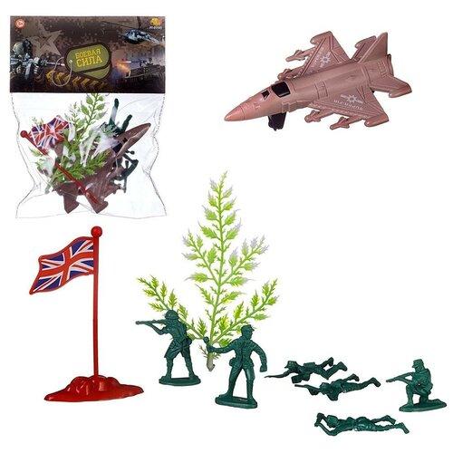 Игровой набор Abtoys Боевая сила 9 предметов (самолет, солдатики, аксессуары)