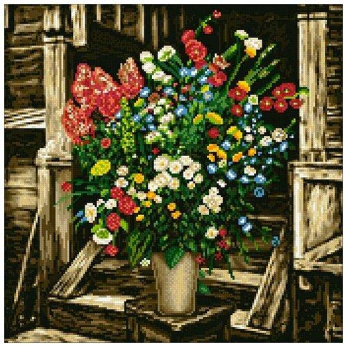 Купить Алмазная мозаика Полевой букет, картина стразами Паутинка 40x40 см., Алмазная вышивка