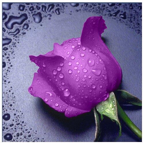 Алмазная вышивка Алмазная живопись Алмазная вышивка Сиреневая Роза ( АЖ.016) 22x24 см. Алмазная живопись