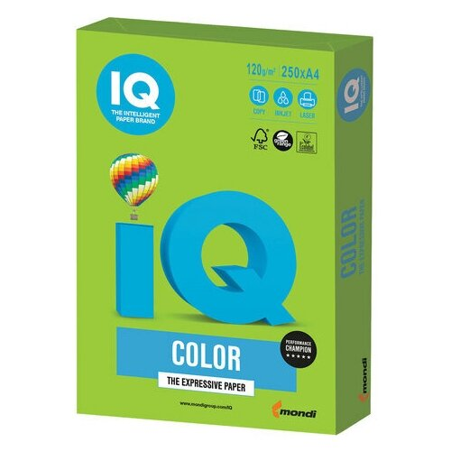 Фото - Бумага цветная IQ color, А4, 120 г/м2, 250 л., интенсив, ярко-зеленая, MA42 бумага цветная iq color а4 160 г м2 100 л 5 цветов x 20 листов микс интенсив rb02