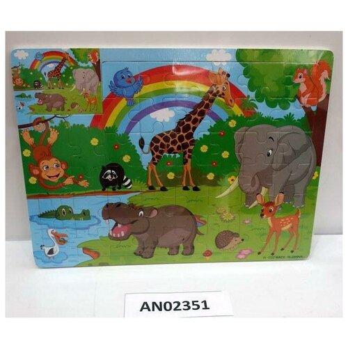 Фото - Пазл-рамка Рыжий кот Африка деревянная (окрашенная рамка) (28 элементов) 22,5х30см пазл рыжий кот 3в1 мир динозавров 49 элементов