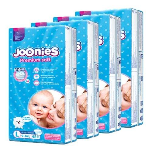 Фото - Joonies подгузники Premium Soft L (9-14 кг), 42 шт., 4 уп. skippy подгузники econom 3 4 9 кг 56 шт