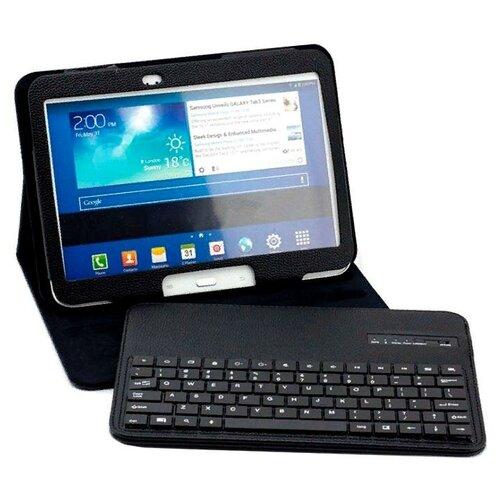 Чехол-клавиатура MyPads для Samsung Galaxy Tab A 10.1 2016 SM-T580 / T585C / T585N съемная беспроводная Bluetooth в комплекте c кожаным чехлом и пластиковыми наклейками с русскими буквами