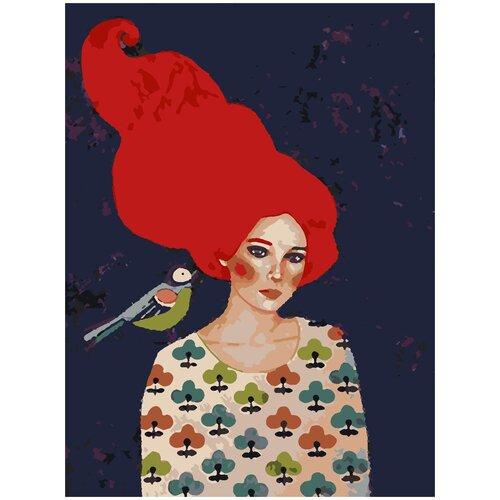 Купить Картина по номерам Девушка с синицей, 80 х 100 см, Красиво Красим, Картины по номерам и контурам
