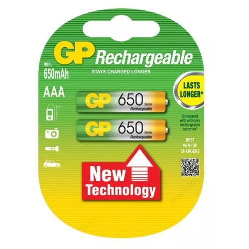 Фото - Батарейка-аккумулятор GP 650 AAA 1.2V (2 шт) aaa аккумулятор gp 65aaahc 2 шт 650мaч