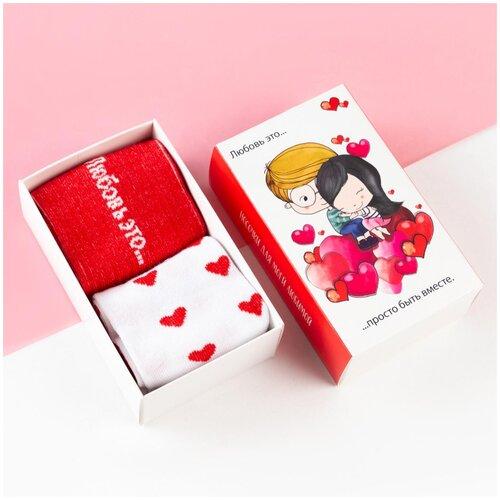 Носки Kaftan Love is 5301730, 2 пары, размер 23-25 см (37-39), белый/красный