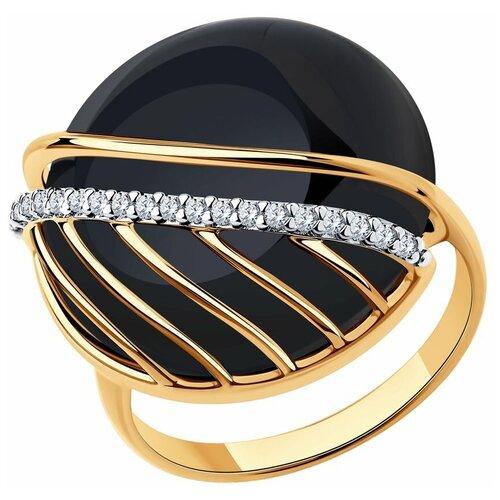 SOKOLOV Кольцо из золочёного серебра с агатом и фианитами 83010062, размер 18