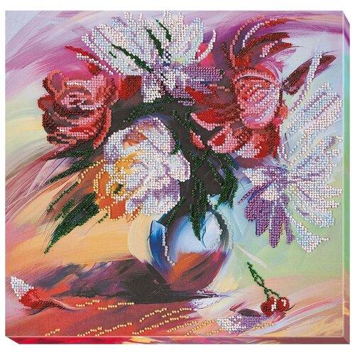 Купить ABRIS ART Набор для вышивания бисером Живописные пионы 30 x 30 см (АВ-660), Наборы для вышивания