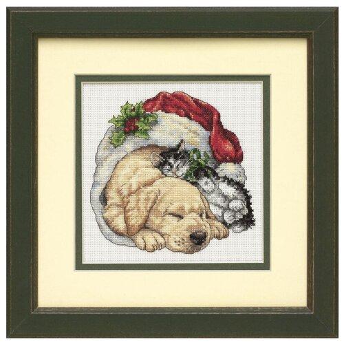 Dimensions Набор для вышивания крестиком Щенок и котенок рождественским утром 15 x 15 см (08826) dimensions набор для вышивания мать 15 х 15 см 06709