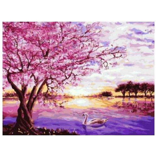 Купить Картина по номерам Сакура и лебедь, 30x40 см. Цветной, Картины по номерам и контурам