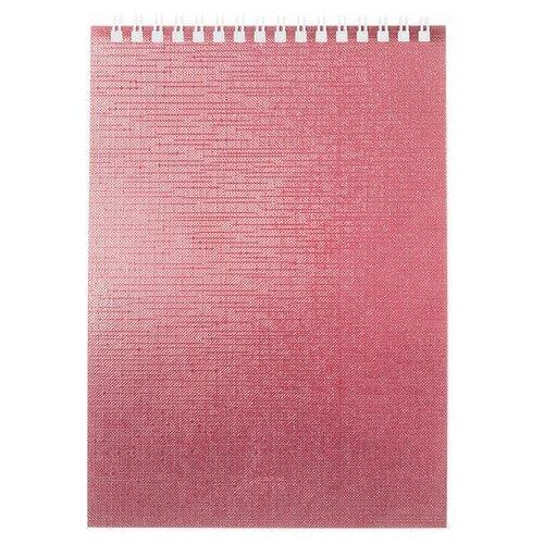 Купить Блокнот А5 (146х205 мм) 80 л., гребень, бумвинил, клетка, HATBER, METALLIC Розовый, 80Б5бвВ1гр, 6 шт., Блокноты и записные книжки