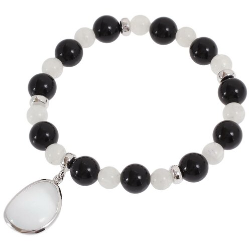 Balex Браслет 7432930126 из серебра 925 пробы с ониксом, лунным камнем и кошачьим глазом синтетическим, 18 см