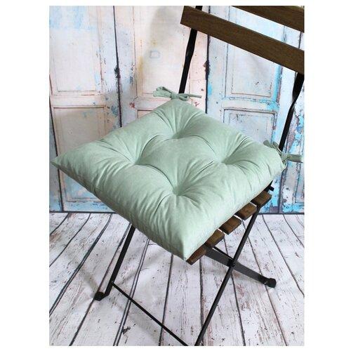 Подушка декоративная на стул MATEX VELOURS мятный с завязками, чехол не съемный, ткань велюр, 42х42 см