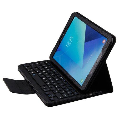 Клавиатура MyPads для Samsung Galaxy Tab S3 9.7 SM-T820/ T825 съемная беспроводная Bluetooth в комплекте c кожаным чехлом и пластиковыми наклейками с русскими буквами