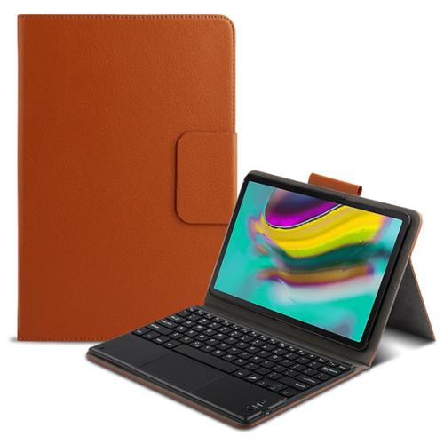 Клавиатура MyPads с чехлом для Samsung Galaxy Tab S6 Lite 10.4 SM-P610 / P615 съёмная беспроводная Bluetooth-клавиатура коричневая кожаная + русские буквы