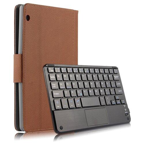 Клавиатура Mypads для Huawei MediaPad T3 10 LTE (AGS-L09/L03) 9.6 съемная беспроводная Bluetooth в комплекте c кожаным чехлом и пластиковыми наклейками с русскими буквами