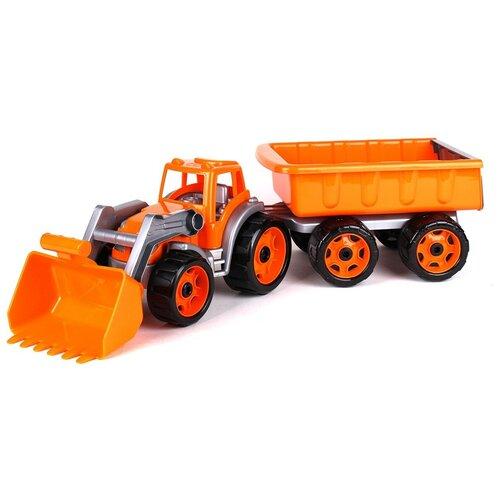 трактор с прицепом игрушка efko трактор с прицепом игрушка Оранжевый трактор с прицепом 65 см технок экскаватор игрушка / трактор с ковшом