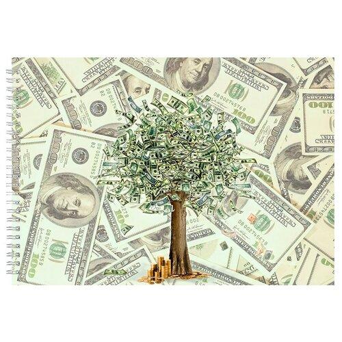 Альбом для рисования, скетчбук Дерево из долларов