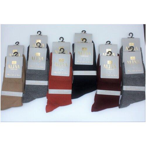 Носки женские Alina ZB010 / 12пар , серые, синие, бордовые, бежевые, темно-оранжевые, размер 36-41