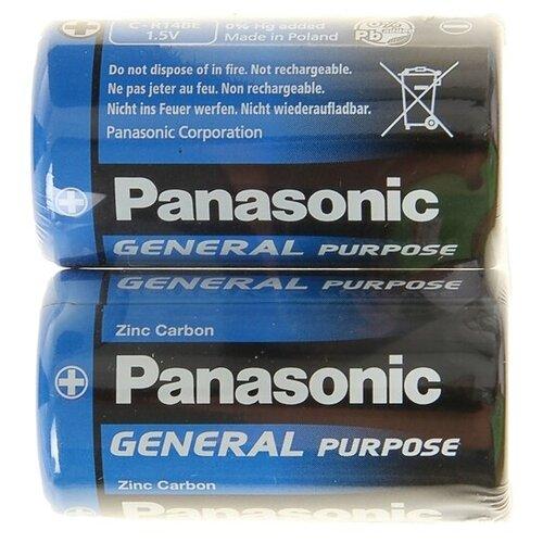 Фото - Батарейка солевая Panasonic General Purpose, C, R14-2S, 1.5В, спайка, 2 шт. 1035279 батарейки panasonic c r14 пленка 2 шт