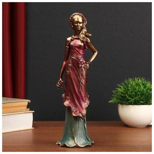 Сувенир полистоун Девушка в бордовом платье с цветами 27,5х8х7,8 см 5054306