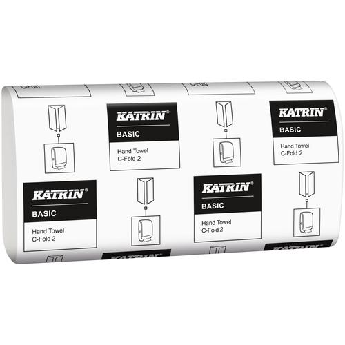Katrin Basic C-fold 2 344951- листовые бумажные полотенца С-сложения, 2-слойные, натурально белые, размер листа 33см*24см, 125 листов в пачке,24 пачек в коробке.