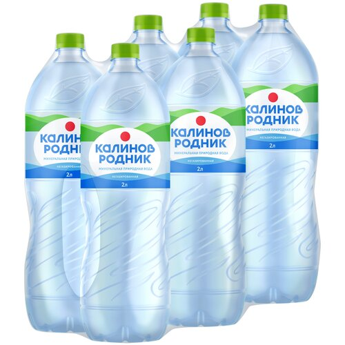 Вода минеральная Калинов Родник негазированная, ПЭТ, 6 шт. по 2 л