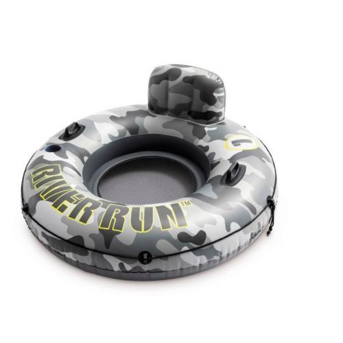 Фото - Надувной круг Intex River Run Камуфляж одноместный с сетчатым дном, диаметр 135 см, арт. 56835NP, надувной круг intex river rat 122см от 12лет 68209