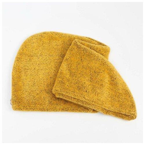 Купить Чалма для сушки волос Этель Меланж цв.желтый, 65*25 см, 100% п/э 6897208