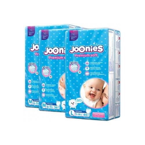 Joonies трусики Premium Soft M (6-11 кг) 2x56 шт. + трусики Premium Soft L (9-14 кг) 44 шт., 3 уп. трусики unik 3 шт