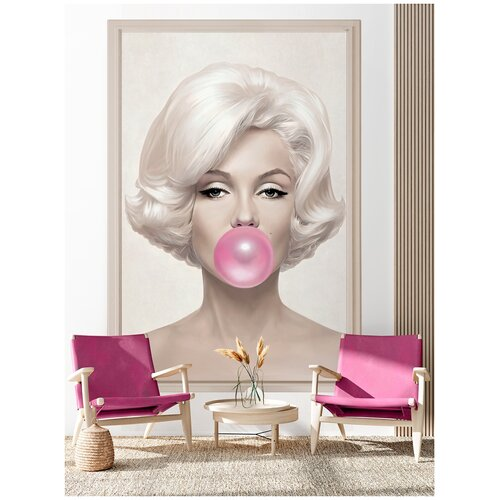 Фотообои Мэрилин Монро / Красивые стильные обои на стену в интерьер комнаты/ 3Д расширяющие пространство/ На кухню в спальню детскую зал гостиную прихожую/ размер 200х129см/ Флизелиновые