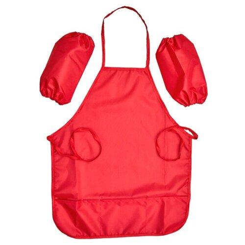 Купить Фартук Учитель с нарукавниками для девочек Red ИТК-28, Одежда для уроков труда
