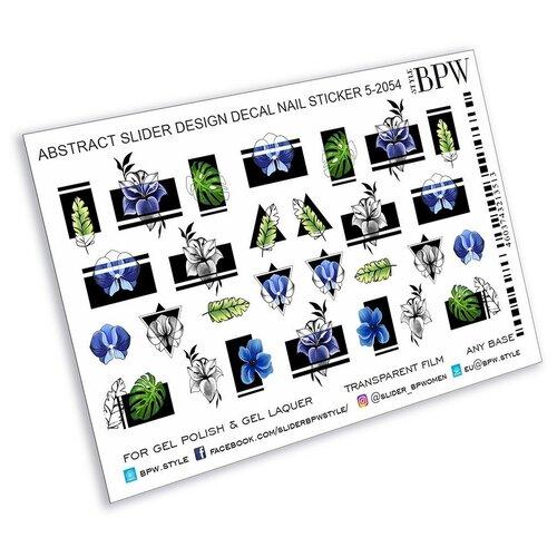 Купить BPW.Style, слайдер-дизайн (Голубые цветы с геометрией, sd5-2054), BPW style