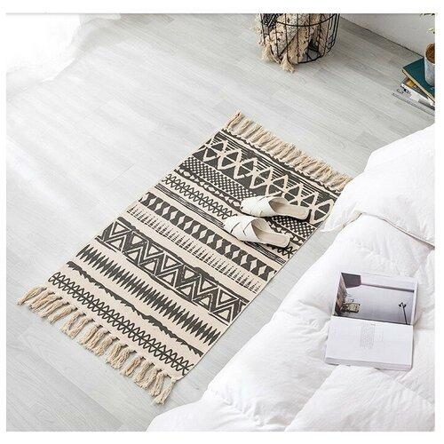 Хлопковый интерьерный этно-ковер с бахромой на пол в гостиную, спальню / Прикроватный коврик