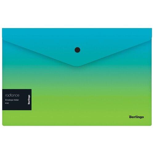Купить Berlingo Папка-конверт на кнопке Radiance А4, пластик, 12 шт. голубой/зеленый, Файлы и папки