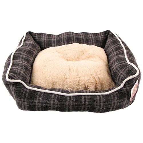 Лежак с бортом 62х50х17 см, съемная меховая подушка, мелкая клетка