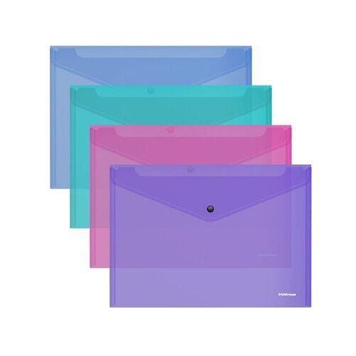 Папка-конверт на кнопке пластиковая ErichKrause Glossy Vivid, полупрозрачная, A4, ассорти 50314 недорого