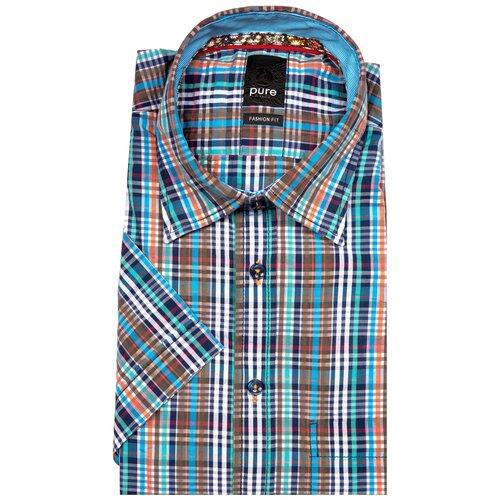 Рубашка pure размер XXL синий/коричневый