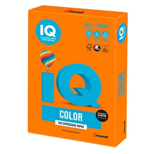 Фото - Бумага цветная IQ color, А4, 160 г/м2, 250 л., интенсив, оранжевая, OR43 бумага цветная iq color а4 160 г м2 100 л 5 цветов x 20 листов микс интенсив rb02