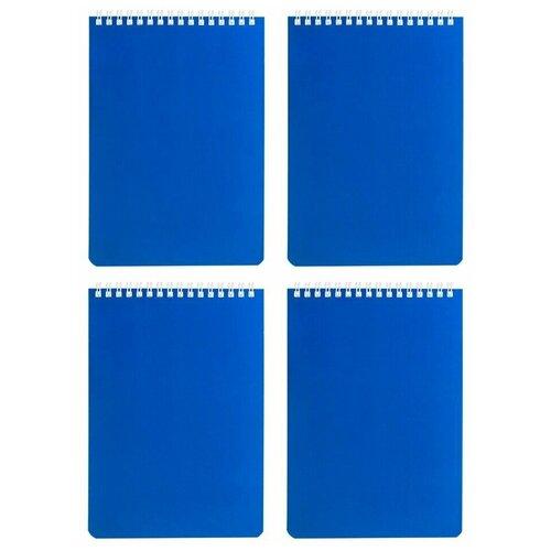 Купить Блокнот А5 (146х205 мм) 60 л., гребень, перфорация на отрыв, лакированный, BRAUBERG, Синий, 111274 (4 штуки) 111274-4, Блокноты и записные книжки