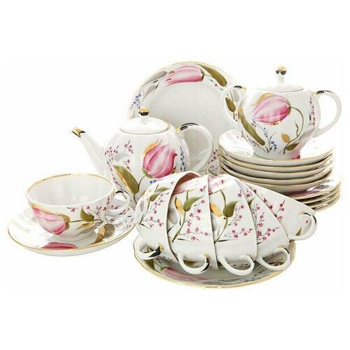 Сервиз чайный. Императорский фарфоровый завод. Форма Тюльпан. Рисунок Розовые тюльпаны. На 6 персон 20 предметов. сервиз чайный императорский фарфоровый завод форма тюльпан рисунок перо павлина 14 предметов