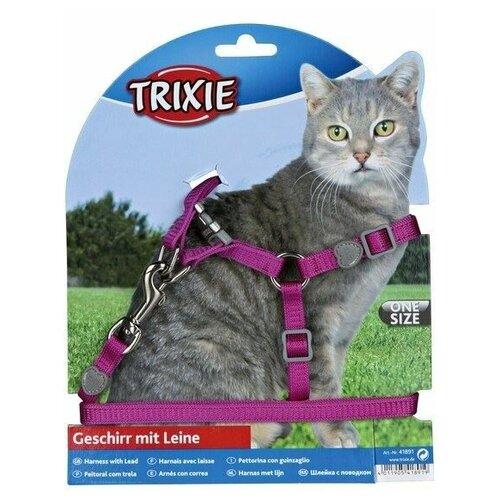 Шлейка с поводком для кошки Premium, Trixie (цвет может отличаться, 26-37 см/10 мм, нейлон, 41891)