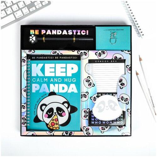 Набор PANDA, ежедневник A5 40 листов, планинг, ручка, скрепки, стикеры /школьная канцелярия/подготовка к школе/подарок на 1 сентября/школьные принадлежности