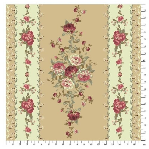 Купить Ткань PePPY Викторианские Розы для пэчворка панель фасовка 60 х 100 см 146±5 г/кв.м Розы/полосы ВР-28 зеленый, Ткани