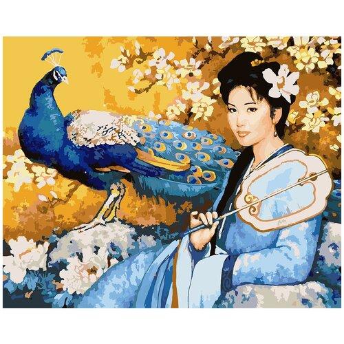Купить Картина по номерам Девушка и павлин, 80 х 100 см, Красиво Красим, Картины по номерам и контурам