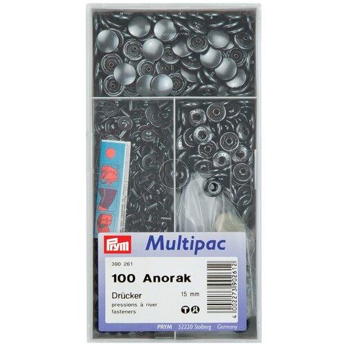 Prym Кнопки непришивные Анорак 390261, черный, 15 мм, 100 шт.