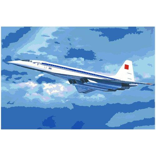 Купить Картина по номерам Ту-144, 80 х 120 см, Красиво Красим, Картины по номерам и контурам