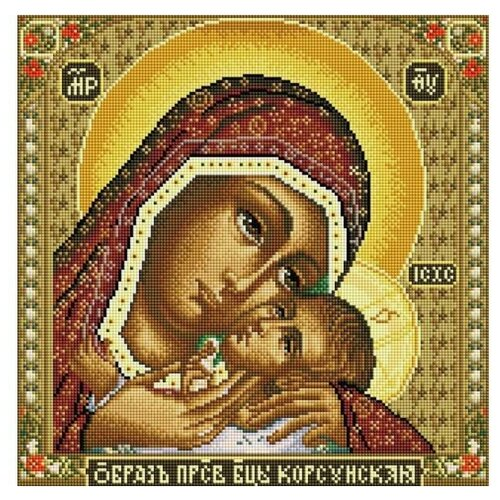 Купить Алмазная мозаика Икона Божией матери Корсунская (на подрамнике), картина стразами Белоснежка 40x40 см., Алмазная вышивка